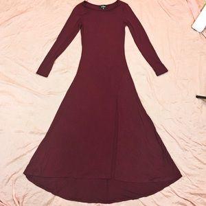 Lulu*s Burgundy Swept Away Maxi Dress XS